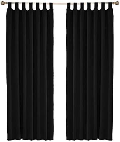 UMI by Amazon Tende a Pannello Termiche Isoalnti Oscuranti Tinta Unita con Passanti 140×245 CM 2 Pezzi Nero