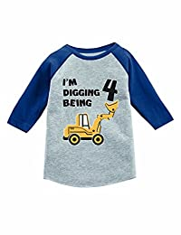 Tstars 4th Birthday Gift Construction Party 3/4 Sleeve Baseball Jersey Toddler Shirt