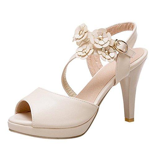 Hochzeit Braut Sandalen und Heels mit YE Peep Gericht Beige Toe Frauen Pumps Riemen Blumen High Schuhe wPvvpq1nC