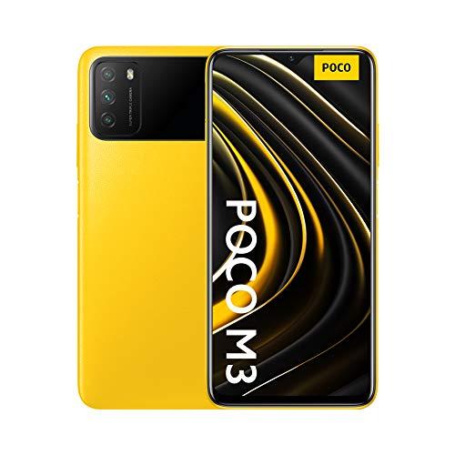 Poco M3 Unlocked Cell Phone | OS Android 10,Qualcomm SM6115 Snapdragon | 662Battery Li-Po 6000 mAh | Dual SIM | GSM - International Version | (Yellow, 64)