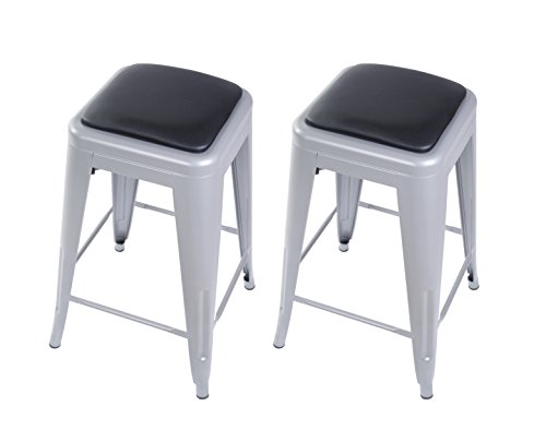 "GIA Gray 24"" Metal Stool with Black Leather Cushion(Set of 2) - Counter Height Square Backless - Tolix Style - Weight Capacity of 300+ Pounds - Ready to use - Extra Durable and Stackable"