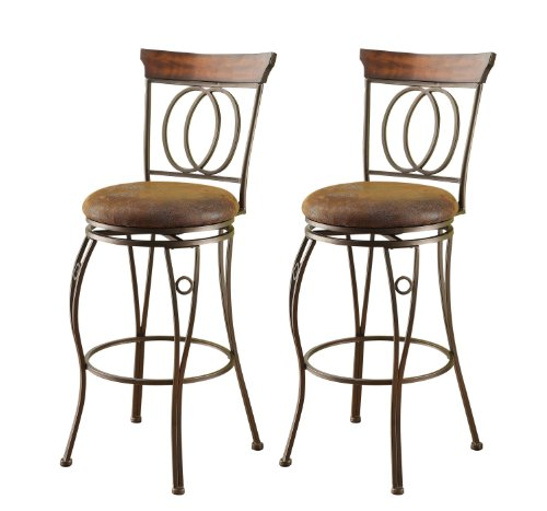 ACME 96046 Set of 2 Tavio Swivel Bar Chair, 29-Inch