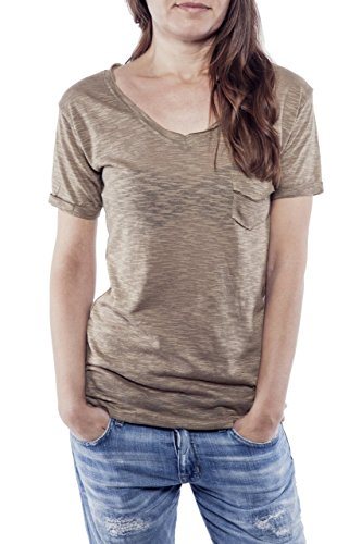 Ella Manue Women V-Neck Shirt Camiseta para Mujer Elie Nut