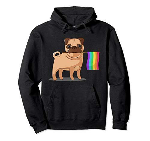 Unisex Gay Pride Flag Pug Hoodie - Dog LGBT Pride Hoody Sweatshirt Large Black