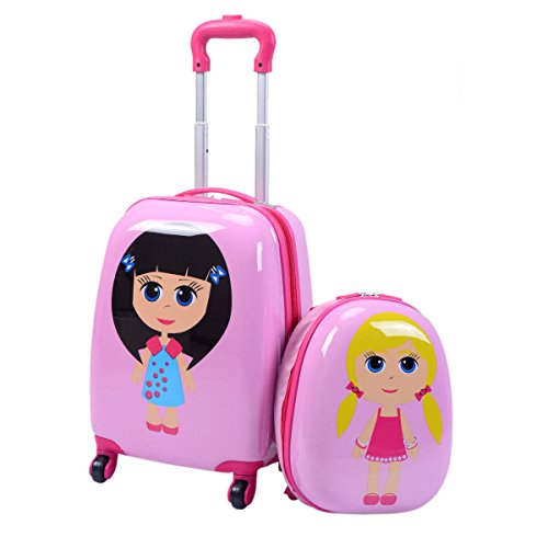 Goplus 2Pc 12' 16' Kids Carry On Luggage Set Upright Hard Side Hard Shell Suitcase Backpack School Travel Trolley ABS (Girls)
