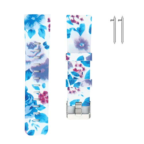 AutumnFall Soft Silicone Floral Pattern Sport Band Strap Replacement Watchbands Link for Fitbit Versa (G)
