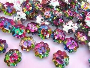 50pc Multi-Color Rhinestone 14mm Jewel Flower Shape Button/2 holes (Sb7) US SELLER SHIP FAST