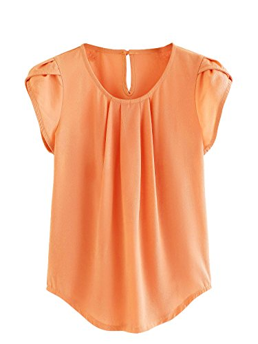 Milumia Women's Summer Asymmetrical Cut Out Button Pleated Top Short Blouse Large Orange