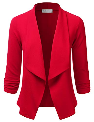 EIMIN Women's Lightweight Stretch 3/4 Sleeve Blazer Open Front Jacket RED M