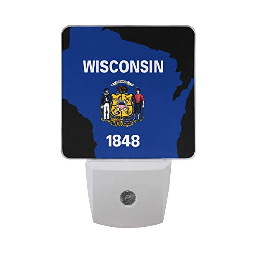 - Auto?LED Night Sensor Light Flag Map of Wisconsin Plug in Home Indoor Decor Desk Lamp Delicate Printing