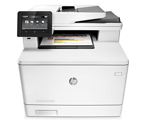 HP LaserJet Pro M477fdn (CF378A) Farblaser Multifunktionsgerät (Drucker, Kopierer, Scanner, Fax, Mail, Duplex, LAN, ePrint, AirPrint, Cloud Print, USB, 38.400 x 600 dpi) weiß