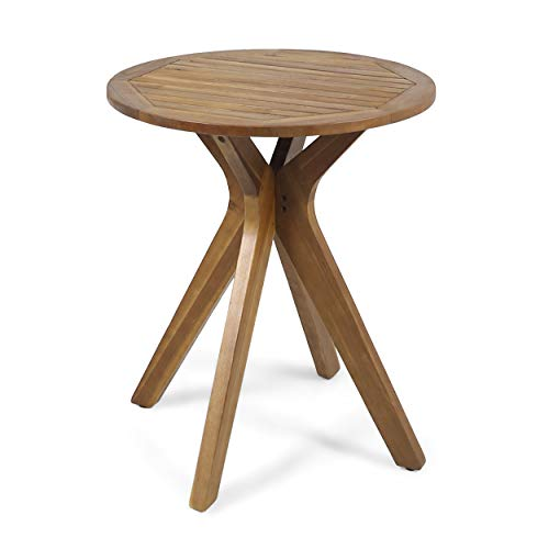 Great Deal Furniture 304870 Brigitte Outdoor Round Acacia Wood Bistro Table with X Legs, Teak