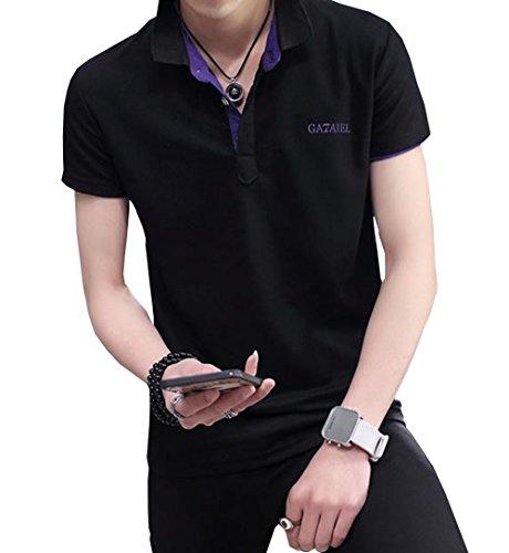 PuHao (プハオ) メンズ Tシャツ ポロシャツ ワイシャツ 夏着 パーカー 半袖 無地 襟付き シンプル poloシャツ スリム 着痩せ かっこいい トップス カジュアル おしゃれ ゴルフウェア (ブラック02, 3XL)