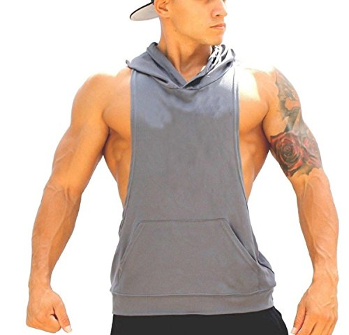 Panegy Men's Bodybuilding Stringer Gym Hoodie Tank Top Sport Fitness Sleeveless Shirt - Grey M