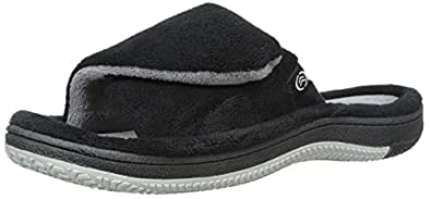 Isotoner Men's Signature  Microterry Closure Slide with Moisture Wicking, Black, XX-Large