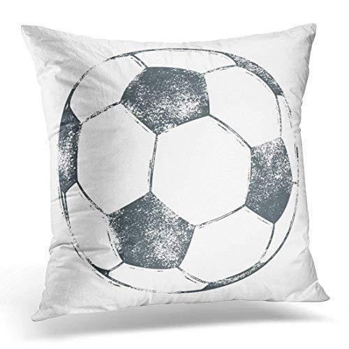 Funda de Almohada con diseño de balón de fútbol en Letras Gruesas ...