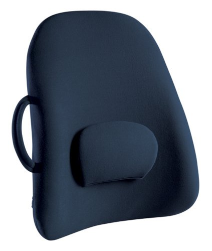 ObusForme Navy Lowback Backrest Support, Removable Adjustable Lumbar Support, Contoured Cushioning Provides Supportive Comfort, Handle For Portability, Hypoallergenic Cover Can Be Removed To Wash