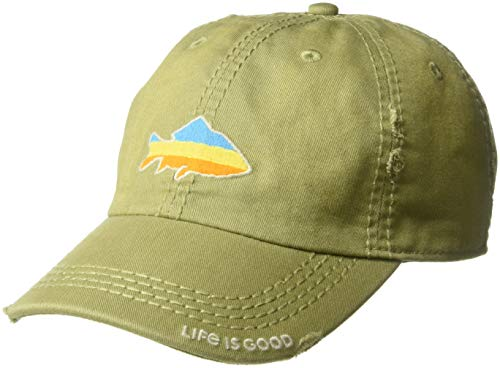 Life is Good Sunwashed Chill Cap Sunset Fish, Fatigue Green, One Size ()