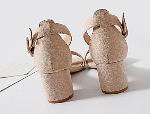 Lanières DANDANJIE à Chaussures à la Dames Sandales Bas Bloc Partie Soirée la Bride Apricot Cheville Talons de Bloc Cheville Womens Bride à Sandales Talon à 1wrE1qPxv