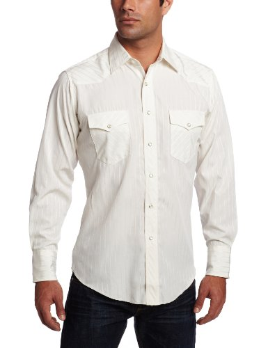 Wrangler Men's Tall Sport Western Snap Shirt Dobby Stripe, Light Tan, Large Tall