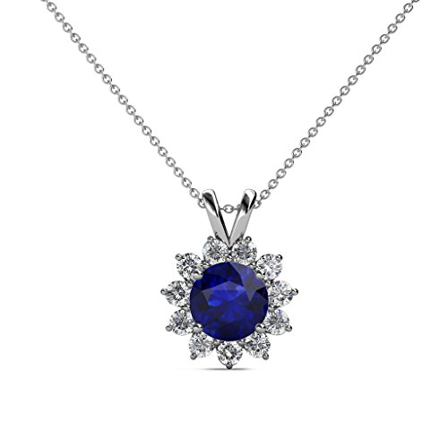 Blue Sapphire and Diamond (SI2-I1, G-H) Floral Halo Pendant 1.28 cttw in 14K White Gold 14K Gold Chain
