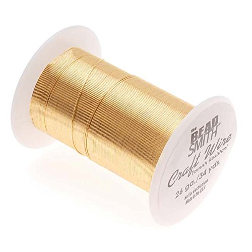 BeadSmith WNT-2633 Tarnish Resistant Gold Color Copper Wire, 26 Gauge / 34 Yard ()