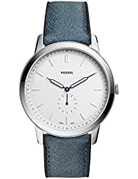 Men's 'The Minimalist-Mono' Quartz Stainless Steel and Leather Casual Watch, Color:Blue (Model: FS5446)