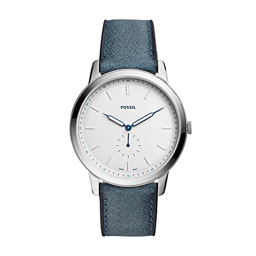 Fossil Men's The The Minimalist - Mono Stainless Steel Analog-Quartz Watch with Leather Calfskin Strap, Blue, 22 (Model: FS5446)