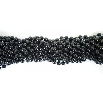 Mm Round Black Mardi Gras Beads  Necklaces