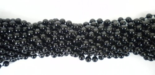 Mardi Beads (33 inch 07mm Round Black Mardi Gras Beads - 6 Dozen (72 necklaces))