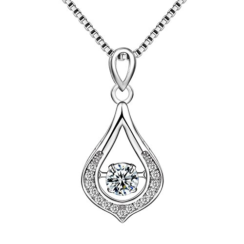 Cosysunny Ladies 925 Sterling Silver Dancing Cubic Zirconia Teardrop Classic Pendant Necklace for Women