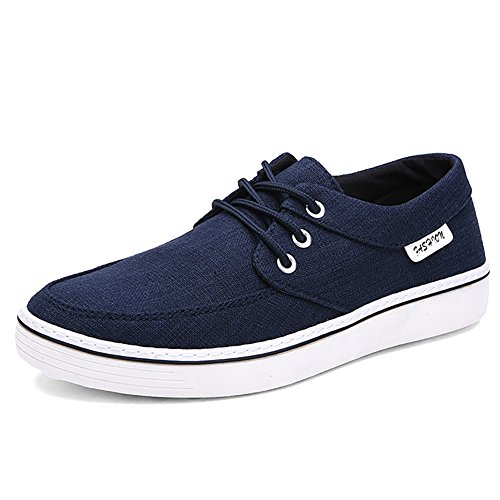 Odema Heren Canvas Schoenen Lage Sneakers Lace Up Casual Mode Blauw