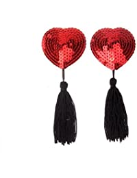Reusable Heart Style Sequin Sexy Women Tassels Nipple Concealers Sticker Pasties Covers Pads Set (Pair)