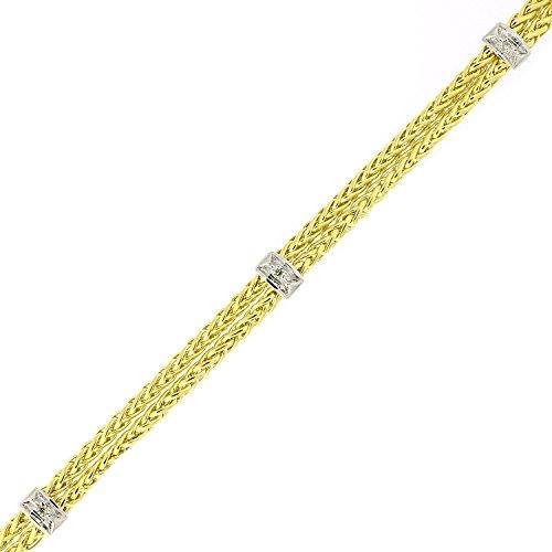 14k Yellow and White Gold Two-Tone .03ctw Diamond Double Wheat Chain Bracelet, ()