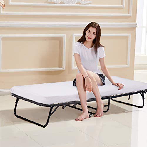 BestMassage Guest Folding Bed Frame Camping Bed Cot Size Heavy Duty With Foldaway Extra Portable 3 Inch Comfort Foam Mattress