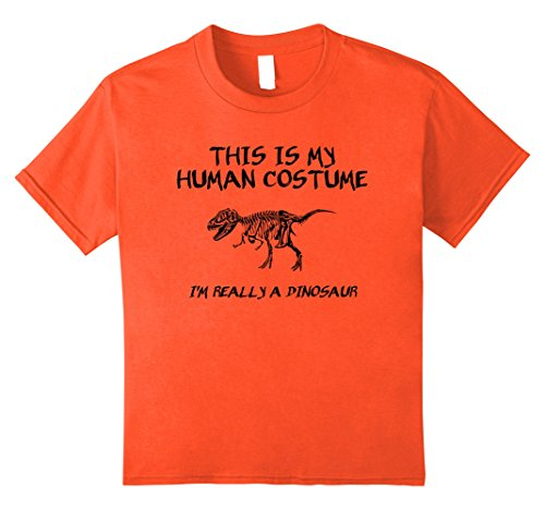 Kids Halloween This Is My Human Costume Dinosaur T-Shirt 8 Orange