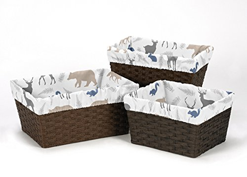Sweet Jojo Designs 3-Piece Fits Most Basket Liners for Blue Grey and White Woodland Animals Bedding Sets (Three Blue Nursery Baskets)
