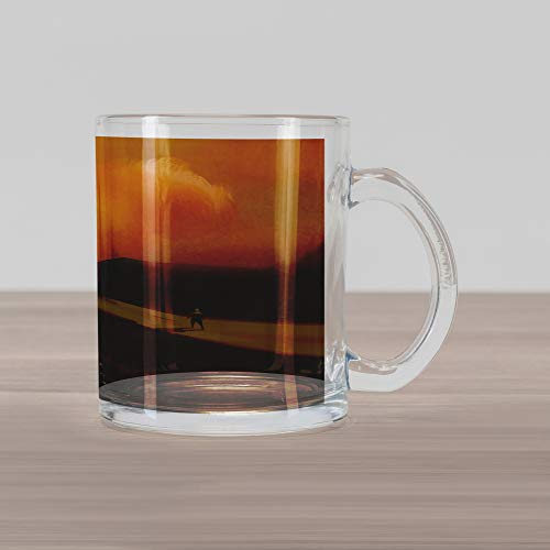 Lunarable Fantasy Glass Mug, Mysterious Shadow Man Walking Through Sand Storm in Desert Hiking Wind Hot Image Art, Printed Clear Glass Coffee Mug Cup for Beverages Water Tea Drinks, Cream