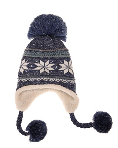 Dosoni Women Girl Winter Hats Knit Soft Warm Earflap Hood Cozy Large Snowflake Beani (Blue)