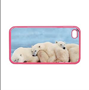 polar bear 4 iphone case for 4 and 4s plastic luminous pink color