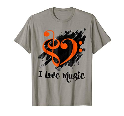 Treble Clef Bass Clef Orange Heart I Love Music Bassist T-Shirt
