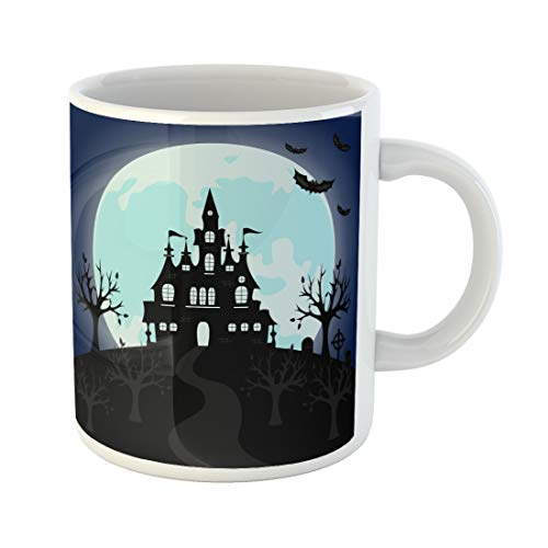 Semtomn Funny Coffee Mug Old Gothic Cemetery Iron Gate and Lantern Halloween Night 11 Oz Ceramic Coffee Mugs Tea Cup Best Gift Or -