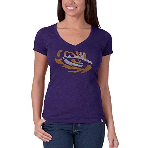 (NCAA LSU Tigers Women's V-Neck Scrum Tee, Grape, Medium)
