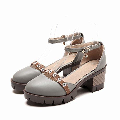 Bloc Douce Mee Boucle De Chaussures Talon Escarpins forme Gris Femmes Pour Plate Ztxgwfq5x