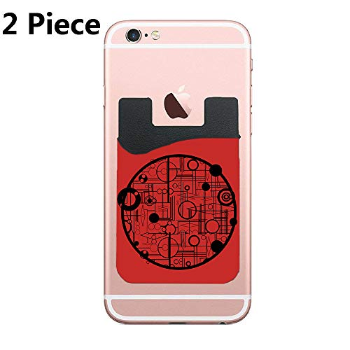 Coulsons Carvings Adhesive Silicone Cell Phone Wallet/Card Holder for iPhone, Android, Samsung Galaxy, Most Smartphones - 2 Piece - Indonesian Carving