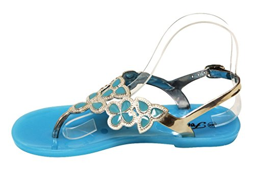 Womens 8 Ankle Crystal Color Thong Strap Sole Sandals Adjustable Forever Blue Fairy Rubber Summer Golden Floral 25 EwWETqfS