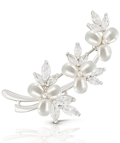 JanKuo Jewelry Rhodium Plated Marquise CZ Brooch with Freshwater Cultured Pearl
