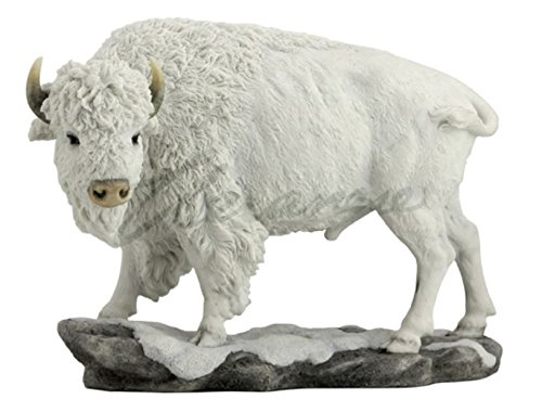 (American White Buffalo Bison in Snow Statue Sculpture Figurine)