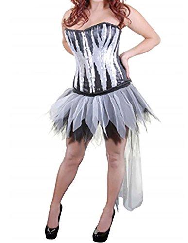 Islander Fashions Femmes 6 Couches Longue Queue Zombie Tutu Jupe Dames Fancy Party Porter Midi Jupe Taille Unique Black/White