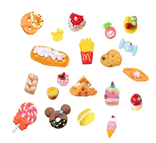 - 20 pcs 3D Slime Charm Slice Resin Flatback Dessert Bead Button Cake Ice Cream Bread Egg Tart Chips Cookie Donut, Fruit Pineapple Lollipop for DIY Scrapbooking Embellishment Phonecase Hair Clip Jewelry